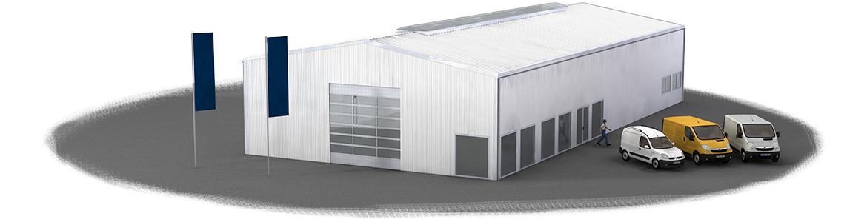 Stahlhalle als 3D Visualisierung