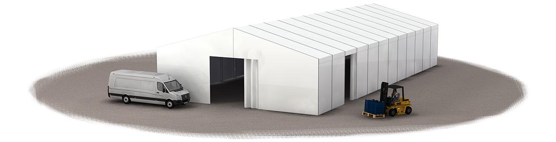 Zelthalle als 3D Visualisierung