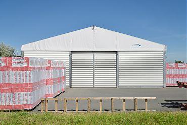 Lagerhalle 15 × 45 m | Lager für Fassadenelemente