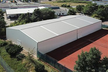 Lagerhalle 18,58 × 35,68 m | Gerätelager für Tennisplatz